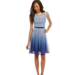 New Leslie Fay Womens Blue Lace Dress